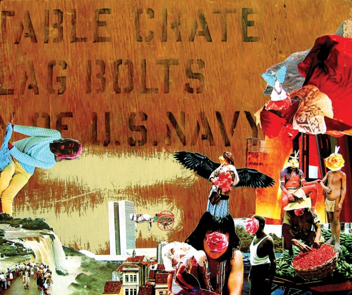 the mobile savage, 53cm x 45cm, collage on found wood, 2006