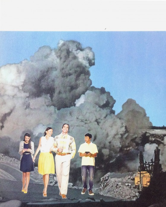 rare earths common dreams, paper collage, 2012